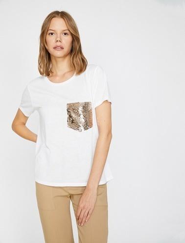 Koton Pul Detayli T-Shirt Ekru